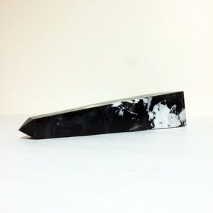 "Vintage Accents - Black and White Marble Obelisk Decor 10"" Tall"